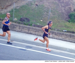 Photo of Nash Jimenez winning the USATF Masters 8K