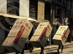 Photo of refridgerators being delivered in Kathmandu. Nepal
