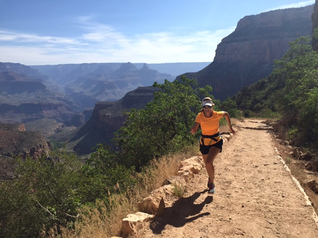 Photo of Becky Aaronson running up Bright Angel Trail