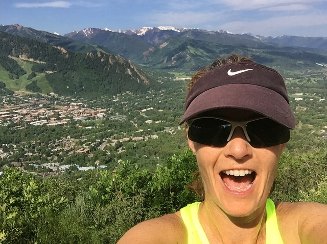 Running to the top of Smuggler Mountain in Aspen
