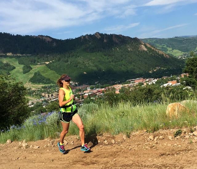 Running up Smuggler Mt. Road in Aspen