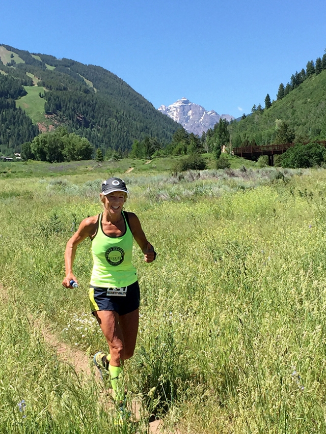 Photo of Patty Bryant running the Aspen Backcountry Marathon