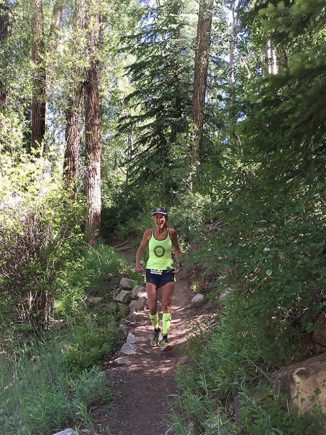 Photo of Patty Bryant running the Aspen Backcountry Marathon